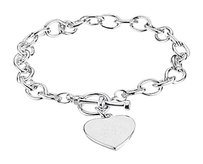 LoveBrightJewelry 7mm Cable Bracelet with Toggle Clasp and Heart Charm in Sterling Silver Valentines Day Jewelry