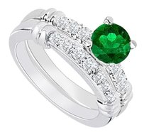 LoveBrightJewelry 925 Sterling Silver Created Emerald and Cubic Zirconia Engagement Ring with Wedding Band Set