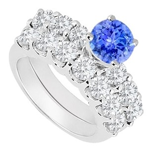 LoveBrightJewelry 925 Sterling Silver Created Tanzanite and Cubic Zirconia Engagement Ring with Wedding Band Set 1.15 Carat