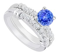LoveBrightJewelry 925 Sterling Silver Created Tanzanite and Cubic Zirconia Engagement Ring with Wedding Band Set