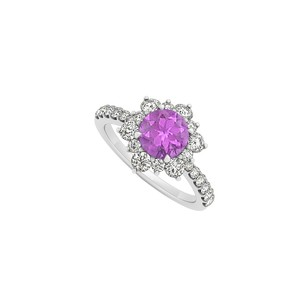 LoveBrightJewelry 925 Sterling Silver February Birthstone Amethyst And Cubic Zirconia Floral Engagement Ring