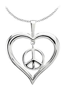 LoveBrightJewelry 925 Sterling Silver Rhodium Plating Heart Peace Sign Pendant 36.75X30.50 MM