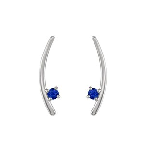 LoveBrightJewelry 925 Sterling Silver Two Stone Sapphire Climber Earrings