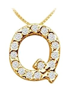 LoveBrightJewelry Alphabet Q Pendant with CZ in 18K Yellow Gold Vermeil Over Sterling Silver 60th Wedding Anniv Gi