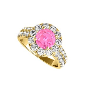 LoveBrightJewelry Amazing Gift Pink Sapphire And Cz Halo Ring 2.00 Tgw