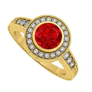 LoveBrightJewelry Amazing Gift Ruby And Cubic Zirconia Ring 1.25 Tgw