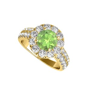 LoveBrightJewelry Amazing Jewelry Gift Peridot And Cz Halo Ring 2.00 Tgw