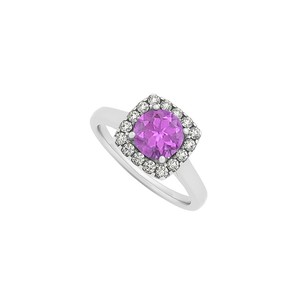 LoveBrightJewelry Amethyst And Cz Halo Engagement Ring In Sterling Silver December Birthstone Fashion Design