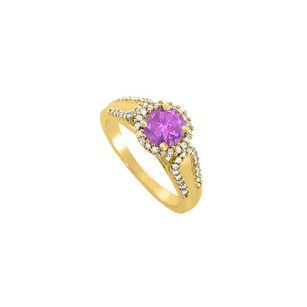 LoveBrightJewelry Amethyst And Cz Halo Engagement Ring In Yellow Gold Vermeil Over 925 Sterling Silver Best Price