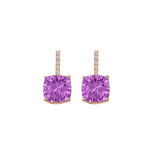 LoveBrightJewelry Amethyst CZ Square Stud Earrings 14K Rose Gold Vermeil