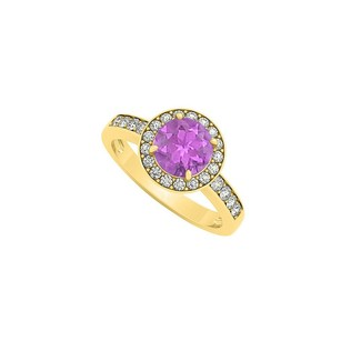 LoveBrightJewelry Amethyst February Birthstone With Cubic Zirconia Halo Engagement Ring 18k Yellow Gold Vermeil