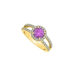 LoveBrightJewelry Amethyst Split Shank Halo Engagement Ring With Cz In 14k Yellow Gold 1.50 Ct Tgw