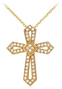 LoveBrightJewelry April Birthstone Cubic Zirconia Cross Pendant in 18K Yellow gold Vermeil over Sterling Silver