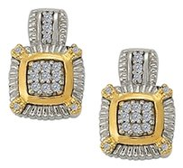 LoveBrightJewelry April Birthstone Cubic Zirconia Halo Earrings in Two Tone Silver Gold Vermeil 0.25 CT TGW