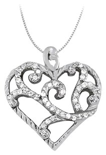 LoveBrightJewelry April birthstone Cubic Zirconia Heart Pendant in Sterling Silver 0.25 CT TGW,Valentine Day Gift
