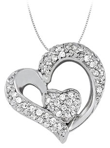 LoveBrightJewelry April birthstone Cubic Zirconia Heart Pendant in Sterling Silver 0.33 CT TGW