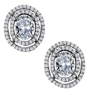 LoveBrightJewelry April Birthstone Cubic Zirconia Oval Halo Earrings with CZ in Sterling Silver