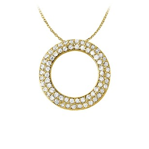 LoveBrightJewelry April Birthstone Cubic Zirconia Pretty Circle Pendant in Yellow Goldn