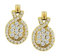 LoveBrightJewelry April Birthstone Diamond Oval Earrings in 14K Yellow Gold 0.75 CT TDW