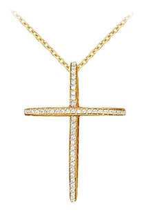 LoveBrightJewelry April Birthstone Diamonds Cross Pendant in 14K Yellow Gold 0.50 CT TDW