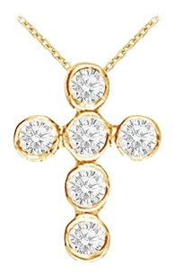 LoveBrightJewelry April Birthstone Diamonds Cross Pendant in 18K Yellow Gold Vermeil