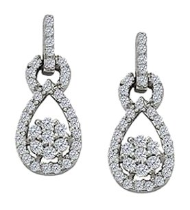 LoveBrightJewelry April Birthstone Teardrop Earrings in 14K White Gold 0.50 CT TDW
