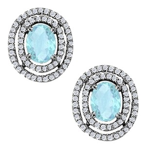 LoveBrightJewelry Aquamarine Oval Halo Sterling Silver Earrings with CZ