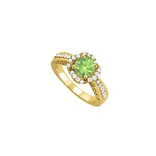 LoveBrightJewelry August Birthstone Peridot And Cz Yellow Gold Vermeil Filigree Engagement Ring Unique Design