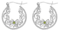 LoveBrightJewelry August Peridot Filigree Style Cable Hoop Earrings