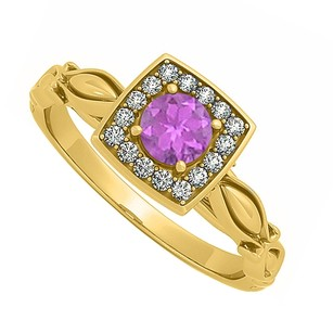 LoveBrightJewelry Beautiful Amethyst And Cubic Zirconia Engagement Ring