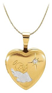 LoveBrightJewelry Beautiful Diamond Heart Angel Locket For Little One