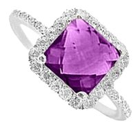 LoveBrightJewelry Beautiful Gift Amethyst and CZ Ring in Sterling Silver