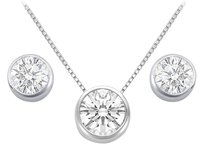 LoveBrightJewelry Bezel Set CZ Pendant and Stud Earrings Sets in Rhodium Treated 925 Sterling Silver 3.00 CT TGW