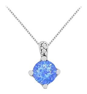 LoveBrightJewelry Big Diffuse Sapphire Pendant Necklace with Cubic Zirconia in 14K White Gold 1.27 Carat TGW