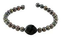 LoveBrightJewelry Black Agate Cultured Freshwater Pearl Cuff 7.5 Inch Bracelet 925 Sterling Silver