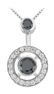 LoveBrightJewelry Black and White Diamond Circle Pendant 14K White Gold 1.50 CT Diamonds