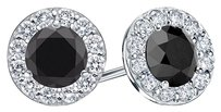 LoveBrightJewelry Black Diamond and CZ Halo Stud Earrings in Sterling Silver 1.00.ct.tw