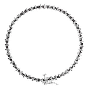 LoveBrightJewelry Black Diamond Bracelet 14K White Gold 1.00 CT Diamonds