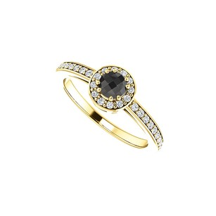 LoveBrightJewelry Black Onyx Cz Halo Engagement Ring In 14k Yellow Gold