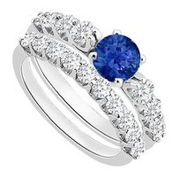 LoveBrightJewelry Blue Created Sapphire Engagement Ring with Cubic Zirconia Wedding Rings in 925 Sterling Silver 1.75 Carat