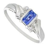 LoveBrightJewelry Blue Sapphire and Diamond Ring 14K White Gold 1.00 CT TGW