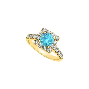 LoveBrightJewelry Blue Topaz And Cubic Zirconia Halo Square Engagement Ring 18k Yellow Gold Vermeil