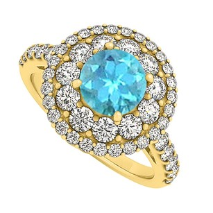 LoveBrightJewelry Blue Topaz And Cz Halo Engagement Ring 2.00 Tgw