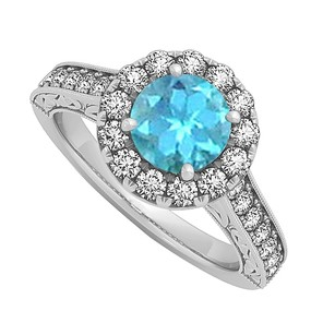 LoveBrightJewelry Blue Topaz And Cz Halo Engagement Ring In 925 Sterling Silver 1.50 Ct Tgw