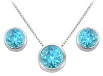 LoveBrightJewelry Blue Topaz Pendant and Stud Earrings Set in Sterling Silver 2.00 CT TGW