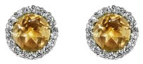LoveBrightJewelry Brilliant Cut Citrine and CZ Earrings Sterling Silver