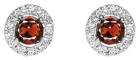 LoveBrightJewelry Brilliant Cut Garnet and CZ Push Back Silver Earrings