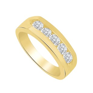 LoveBrightJewelry Channel Set Cubic Zirconia 14k Yellow Gold Mens Ring