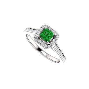 LoveBrightJewelry Channel Set CZ Accented Square Emerald Halo Ring Gold