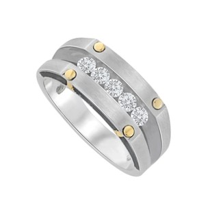 LoveBrightJewelry Channel Set Natural Diamonds Two Tone Gold Mens Ring